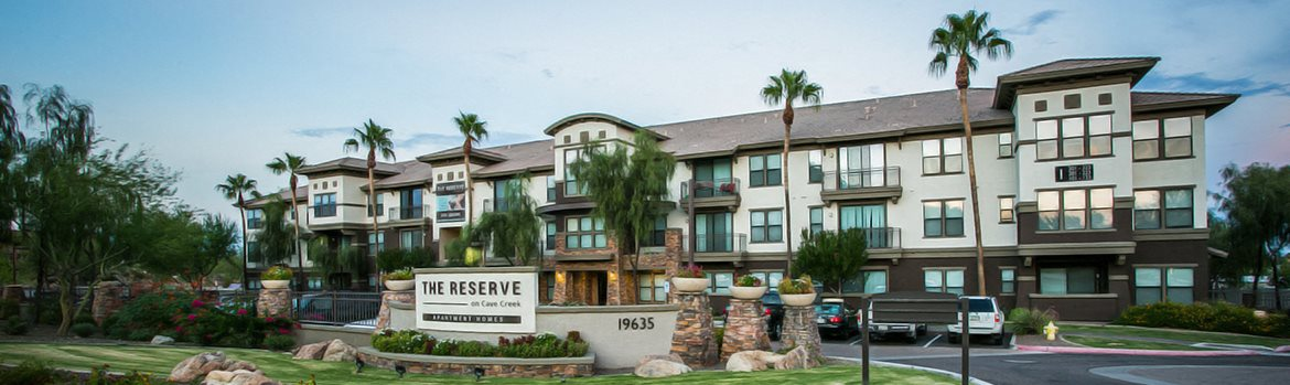 Banner Image of the exterior of our apartment community at The Reserve on Cave Creek in north phoenix, az